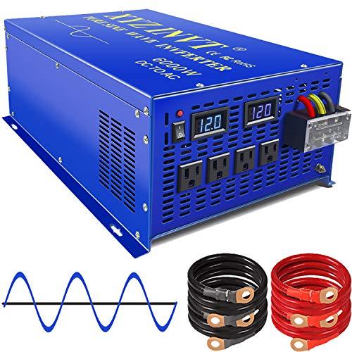 XYZ INVT 6000w Power Inverter Pure Sine Wave Inverter 12v dc to ac 110v 120v Peak 12000w Heavy Duty for Off Grid Solar Power System Home Emergency (6000w12v)