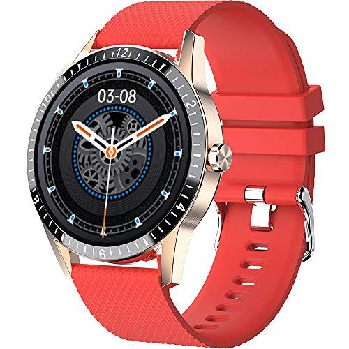 Smartwatch zum Telefonieren Herren Damen Android IOS Schrittzähler Sportuhren mit Blutdruckmessung Laufuhr Fitnessuhr Smart Watch Rund Pulsuhr Kalorienzähler Armband Schwarz Silber Grün Rot