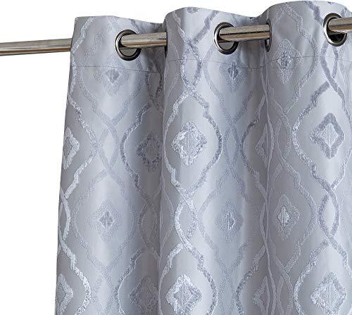 HLC.ME Trellis Decorative Pattern Winter Thermal Insulated 100% Full Blackout Energy Savings Darkening Short Window Curtain Drapery Grommet Panels for Office, Set of 2 (37 x 63 Long, Light Grey)