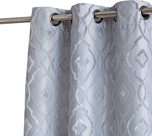 HLC.ME Trellis Decorative Fashion Winter Thermal Insulated 100% Blackout Energy Efficient Room Darkening Window Curtain Drapery Grommet Panels for Bedroom, Set of 2 (37 x 96 inches Long, Light Grey)