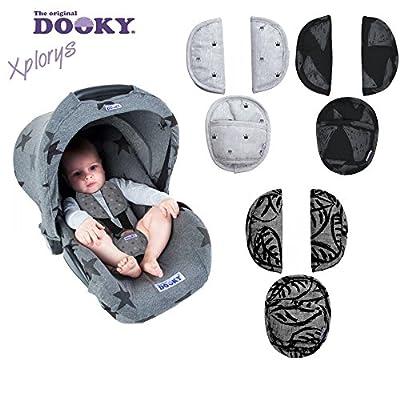 Original dooky Pads * *–Juego de 3Gefütterte Cinturón acolchado/Protección Acolchado * * para asiento de coche/Carrito/Buggy por ejemplo Maxi Cosi CYBEX, Römer, etc.
