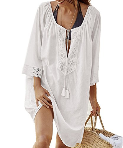 AiJump Damen Sommer Spitze Baumwolle Tunika Strandkleider Strandponcho Strand Abdeckungs Bikini Cover Up