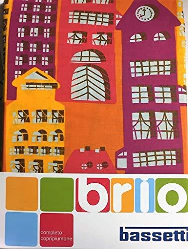 Bassetti Brio - Juego Completo de Funda nórdica Sweet Home para Cama Individual 100% algodón (Funda 155 x 200 + 1 Bajera con Esquinas 90 x 200 + 1 Funda de Almohada 50 x 80) Rojo/Amarillo