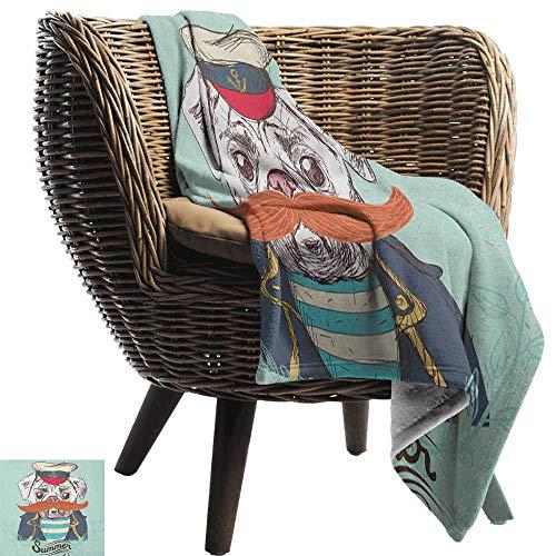 ZSUO gewogen deken voor kinderen Pug, Abstract beeld van een hond met menselijke porties met jas sjaal en jeans Absurd Taupe Brown Blue Cozy Hypoallergene gemakkelijk te dragen deken