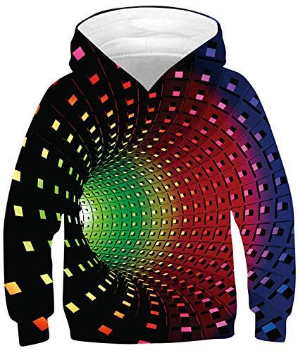 SunFocus Sudadera con Capucha Unisex Informal con Estampado de túnel Digital 3D para niños y niñas Camisetas de Manga Larga suéteres Negros para Halloween Ropa de Festival L