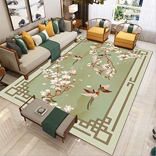 RUGMRZ Spiele Teppich Grüne Blumen und Vögel Muster einfachen Stil weichen Teppich Anti-Rutsch Teppich+Wohnzimmer Teppich Landhaus grün 100X200CM