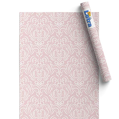 Papel Adhesivo de Vinilo para Muebles y Pared - 45x200cm - Modelo Elegante y Clásico - Rosa Vintage - Vinilo Resistente, Impermeable y Removible, V-MU-1305