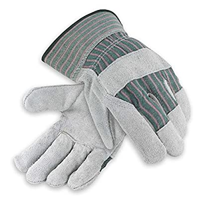 Galeton 2114-XXL Heavy Shoulder Leather Palm Gloves, Safety Cuff, XX-Large, Green Stripe (Pack of 12)