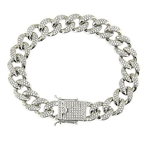 Ice Tander | Bracciale Uomo Donna Acciaio | Cuban Chain in Oro e Argento | Collana Cubana con Diamanti Zirconi