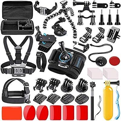 SmilePowo 42-in-1 Action Camera Accessorries Kit Mount for GoPro Hero 9 8 Max 7 6 5 4 3 3+ 2 1 Black GoPro 2018 Session Fusion Silver Insta360 DJI AKASO APEMAN YI Campark XIAOMI Action Camera from SmilePowo