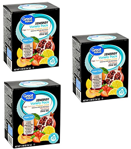 Great Value Energy Variety Pack Drink Mix, 20 count, 1.98 oz ( 3 Boxes...