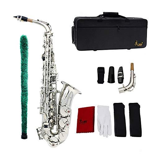 Ammoon® Saxophon Sax Eb Be Alto E Flache Muster geschnitzt Bronze in die plastische Oberfläche Düse Exquisite mit Handschuhe Reinigungstuch Bürste Gurte