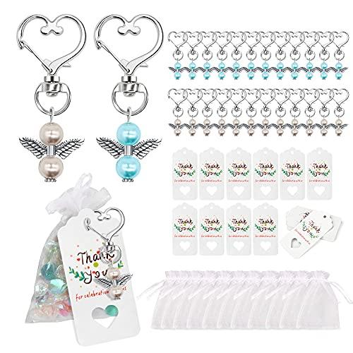 Gohytal Bombonera para comunión, 24 perlas ángel de la guarda llavero + bolsas organza papel estraza boda, bautizo colgante confirmación, regalo invitados