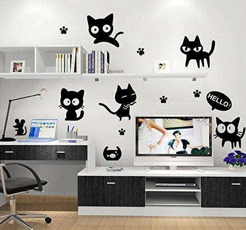 ufengke® Niedliche Schwarze Katze Maus Fußspur Wandsticker, Kinderzimmer Babyzimmer Entfernbare Wandtattoos Wandbilder