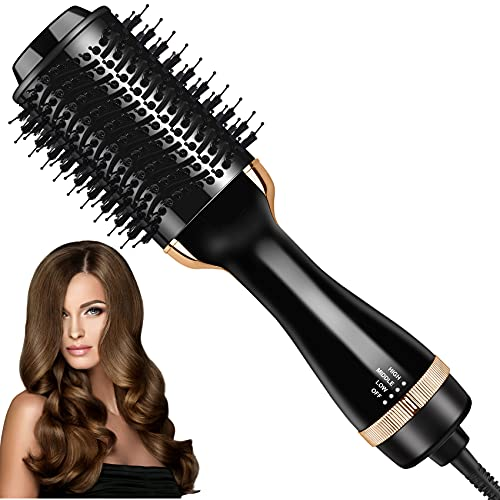 Hair Dryer Brush, Hot Air Brush with Negative Ion, One Styling Step Hair Dryer and Volumizer , 4 in 1 Multifunctional Blow Dryer Brush for Fast Drying,Straightening,Curling