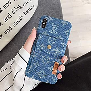 iPhone XR Case, Vintage Monogram Denim Phone Cover Trunk Case with Card Holder for iPhone XR