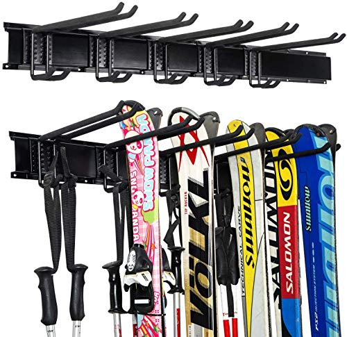 Ultrawall Ski Wall Rack, Wall Mounted 5 Pairs of Snowboard Rack , Home and Garage Skiing Storage Mount Hold up to 300lbs