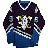 Men's Custom Conway #96 Movie Mighty Ducks Ice Hockey Jersey Black (Black, S)