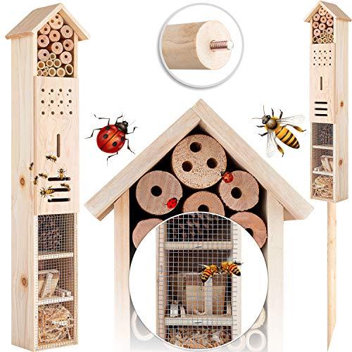 KESSER® Insektenhotel aus Holz mit Erdspieß - Naturbelassenes Insekten Hotel für Fluginsekten - für Bienen Marienkäfer Schmetterlinge Fliegen Insektenhaus Nistkasten Brutkasten Hotel