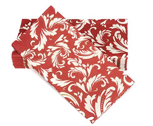 Simulinen Colored Napkins - Decorative Cloth Like & Disposable, Dinner Napkins - Burgundy with Champagne & Gold - Soft, Absorbent & Durable - 16'x16' - Great for Any Occasion! - Box of 50