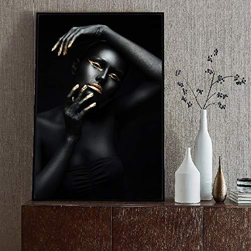 Afrikanische Frau Porträt Wandkunst Druck auf Leinwand Multi afrikanisches Mädchen Home Office Raum Wanddekoration rahmenlose Malerei 50x70cm