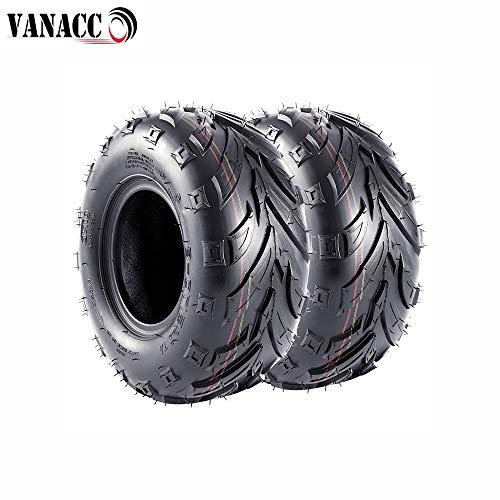VANACC Pair of 2 Sport 145/70-6 (14x6-6) ATV Go-Kart Knobby Mini Bike Tires, 145x70-6 4 PR, Tubeless