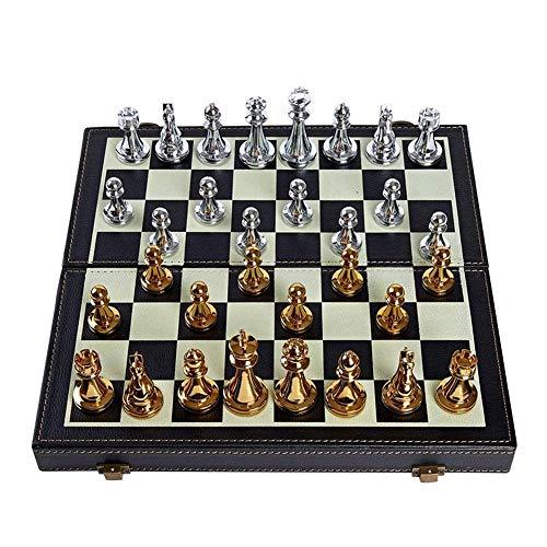F.L.S Tablero Ajedrez Magnético Conjunto de ajedrez metálico Plegable, Conjunto de ajedrez estándar, Regalo para los Amantes del ajedrez Internacional/Principiantes y Estudiantes (Color : B)
