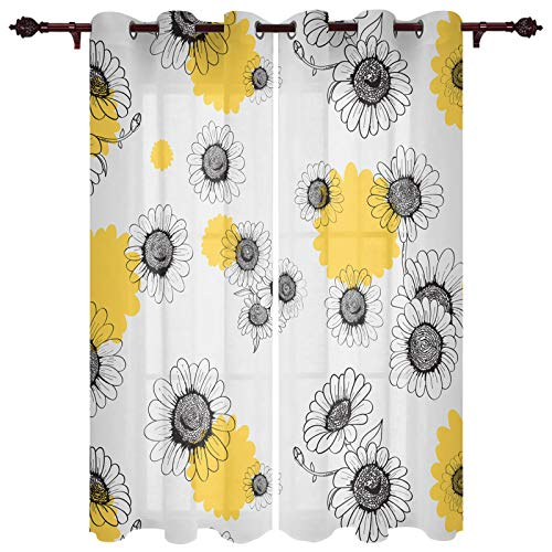 "T&H XHome Draperies & Curtains,Small Daisy Yellow White Lines Window Curtain, 2 Panel Curtains for Sliding Glass Door Bedroom Living Room 80"" W by 84"" L"