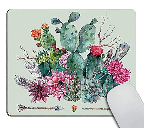 Kaktus Mauspad, Frühlingsgarten mit Blumenstrauß im Boho-Stil aus Dornenpflanzen, Blüten, Pfeilen, Federn, Mehrfarbig