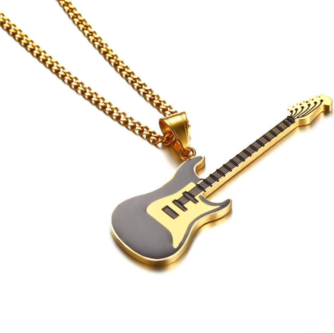 KUANDARMX Regalo de Amante Collar De Acero De Titanio Exquisito Y Hermoso Collar Colgante De Guitarra De Vintage Colgante De Cadena De Suéter De Acero De Titanio Embalaje Boutique