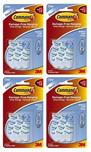 Command Refill Strips, Medium, Clear, 36-Strips