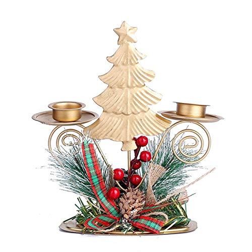 Candelero de Navidad Candelabros de mesa de Navidad Candelabros de metal ligero titulares de velas Mini hierro forjado Candelabro Adornos doble titular vela para el hogar decoración de la boda árbol