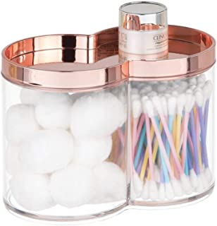 mDesign Plastic Bathroom Vanity Countertop Canister Jar with Storage Lid - Stackable - Divided, Double Compartment Organizer for Cotton Balls, Swabs, Bath Salts - Clear/Rose Gold