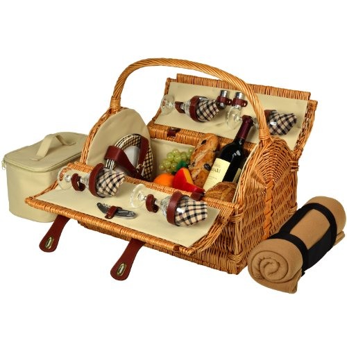 Picnic at Ascot Yorkshire Willow Picnic Basket with Service for 4 with Blanket - London Plaid