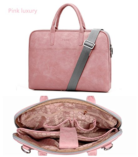 Fashion Leather laptop bag per le donne 13 13.3 14 15 15.6 17 43,9 cm, cinturino in pelle PU messenger bag rosa nero rosso rosa Pink Luxury 13,3'