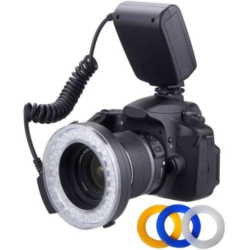 Makro Ringblitz LED-Licht für Sony Alpha SLT-A33, SLT-A35, SLT-A37, SLT-A55, SLT-A57, A58, SLT-A58K, SLT-A58Y, A65, SLT-A65V, SLT-A65VM, SLT-A65VL, SLT-A65VK, A77, SLT-A77V, SLT-A77VQ, SLT-A77VK, SLT-A77VM, SLT-A99, SLT-A99V, A100, A200, A230, A290, A300, A330, A350, A380, A390, A450, A500, A560, A550, A580, A700, A850, A900, A3000, A7, A7R, DSC-RX1, RX10, RX1R (49/52/55/58/62/67/72/77 mm Objektive)