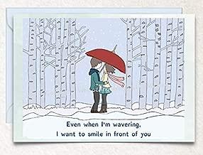 Winter Love, Birthday, Valentine's Day, Anniversary, Hand Drawn Original Poetry Greeting Card