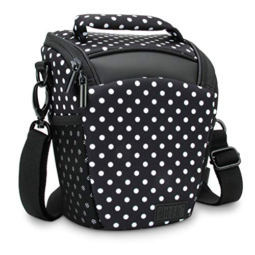 USA Gear SLR Camera Case Bag (Polka Dot) with Top Loading Accessibility, Adjustable Shoulder Sling, Padded Handle, Weather Resistant Bottom - Comfortable, Durable and Light Weight for Travel