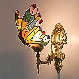Aplique de estilo Tiffany,Aplique de pared de mariposa,Lámpara de pared decorativa de vidrio manchado antiguo vintage para sala de estar Dormitorio pasillo al lado,14