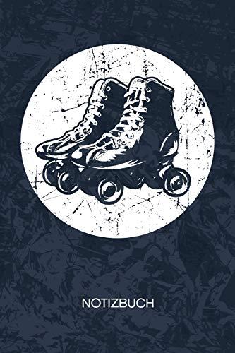 NOTIZBUCH: A5 Kariert - Rollschuh Skater Heft - Retro Notizheft 120 Seiten KARO - Vintage Rollschuhe Notizblock Retro Roller Skates Motiv - 90er Kind Geschenk