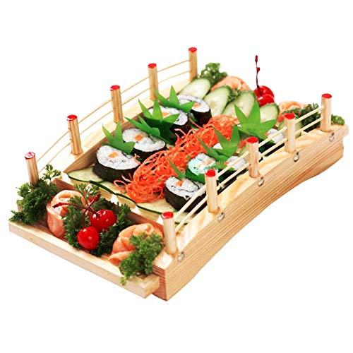 KELUNIS Japanese Style Arch Sushi Bridge, Sushi Sashimi Serving Tray, Cuisine Display Boat for Sushi Tableware Decoration Ornament