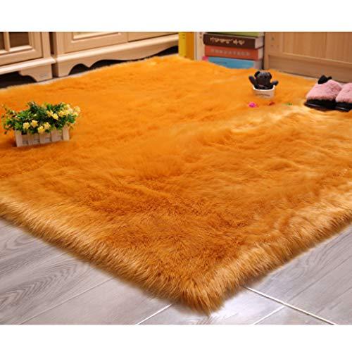 LYZL Faux-Pelz-Teppich 5-6cm Künstliche Tier Wolle Waschbar Anti-Skid Yoga Teppich für Geburtstag, Foto-Stütze, Nicht Beleg-Matte,Gelb,250×250cm