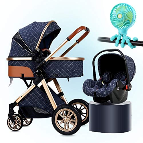 HHGO 3 In 1 Pushchair Stroller With Fan, Foldable Newborn Carriage Baby Stroller Travel System With Car Seat Footmuff Blanket Cooling Pad Rain Cover Mosquito Net Backpack, Khaki (Color : Blue)