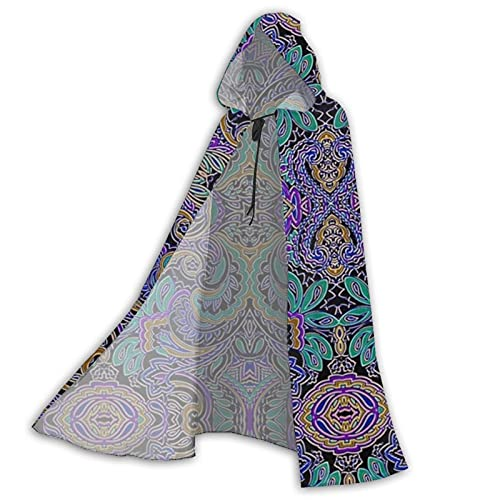 Unisex Full Length Hooded Cape Halloween Party Vampires Peacock Paisley Adult Cloak