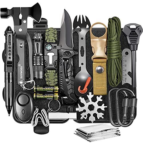 Regalos para hombres, papá, esposo, día del padre, equipo y equipo de supervivencia 20 en 1, accesorios profesionales para herramientas geniales, para caza de emergencia al aire libre, deporte