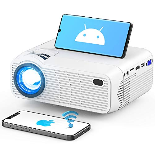 """WiFi Bluetooth Projector, Upgraded 3Stone Native 720P Mini Projector for Outdoor Movies with Dual 5W Stereo Speakers, 200"""" Display, Backlit Buttons, Support 1080P Compatible with TV Sticks"""