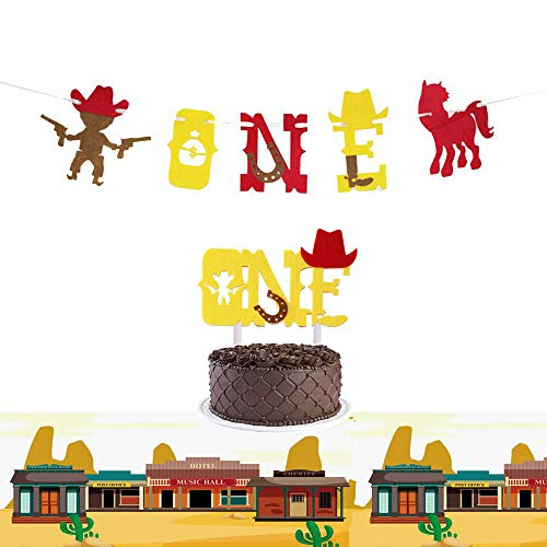 Cowboy Happy Birthday Topper,One Cowboy Banner,One Cowboy Cake Topper,Cowboy Theme Decorations,Cowboy Party Supplies Boots Horses Boy Banner