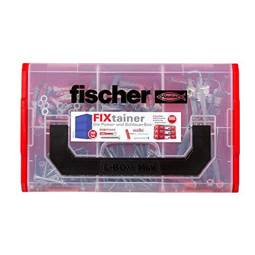 fischer FIXtainer DUOPOWER/DUOTEC Power- & Schlauer-Box mit 200 Teilen, Universaldübel, Kippdübel + Schrauben, praktische Werkzeugkiste mit Tragegriff & Klicksystem, Dübelset