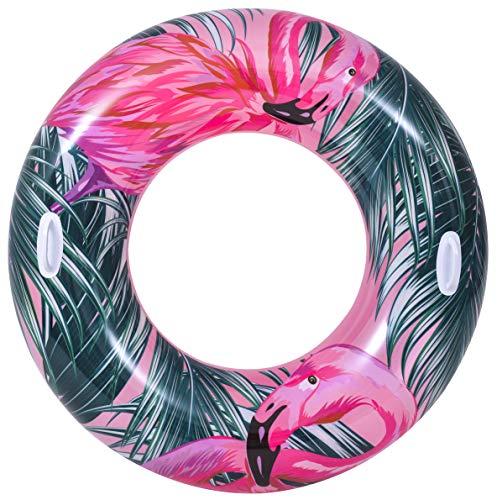 Pullach Hof Flotador tucan, diámetro de aprox. 115 cm, diseño de flamenco, para verano, piscina, incluye set de reparación (flamenco)