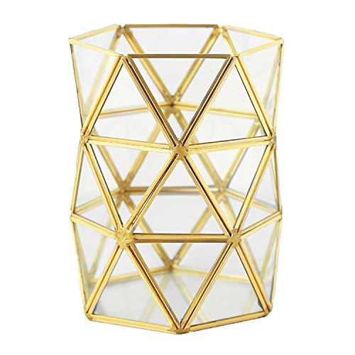DKE&HXL Machen-up Aufbewahrungsbox, Kupferstreifen Glas Machen-up Pinsel Transparente...